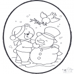 Winter coloring pages - Winter prickingcard 2