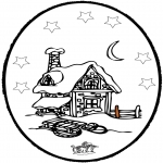 Winter coloring pages - Winter prickingcard 5