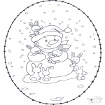 Winter coloring pages - Winter sticking card 1