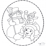 Winter coloring pages - Winter sticking card 2