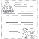 Christmas coloring pages - X-mas labyrinth 1