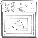 Christmas coloring pages - X-mas labyrinth 3