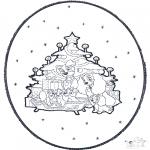 Christmas coloring pages - X-mas prickingcard 1