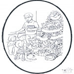 Christmas coloring pages - X-mas prickingcard 10