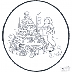 Christmas coloring pages - X-mas prickingcard 11