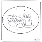 Christmas coloring pages - X-mas prickingcard 16