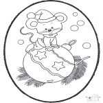 Christmas coloring pages - X-mas prickingcard 19