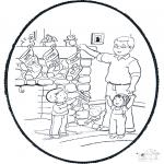 Christmas coloring pages - X-mas prickingcard 6