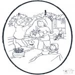 Christmas coloring pages - X-mas prickingcard 8