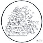 Christmas coloring pages - X-mas prickingcard 9