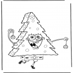 Christmas coloring pages - X-mas Spongebob 3