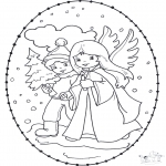 Christmas coloring pages - X-mas stitchingcard 12