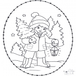 Christmas coloring pages - X-mas stitchingcard 23