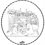 Christmas coloring pages - X-mas stitchingcard 25